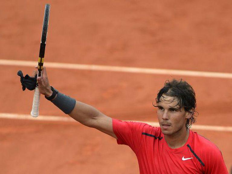 Spain's Rafael Nadal reacts after winning over Argentina's Eduardo Schwank.
