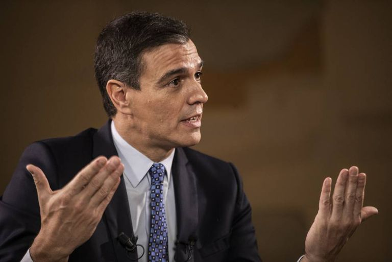 Caretaker Prime Minister Pedro Sánchez, during the interview.