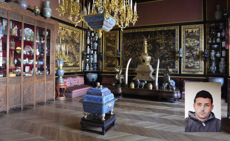 Asian artwork in the Palace of Fontainebleau and a police photo of suspect Juan María Gordillo Plaza.